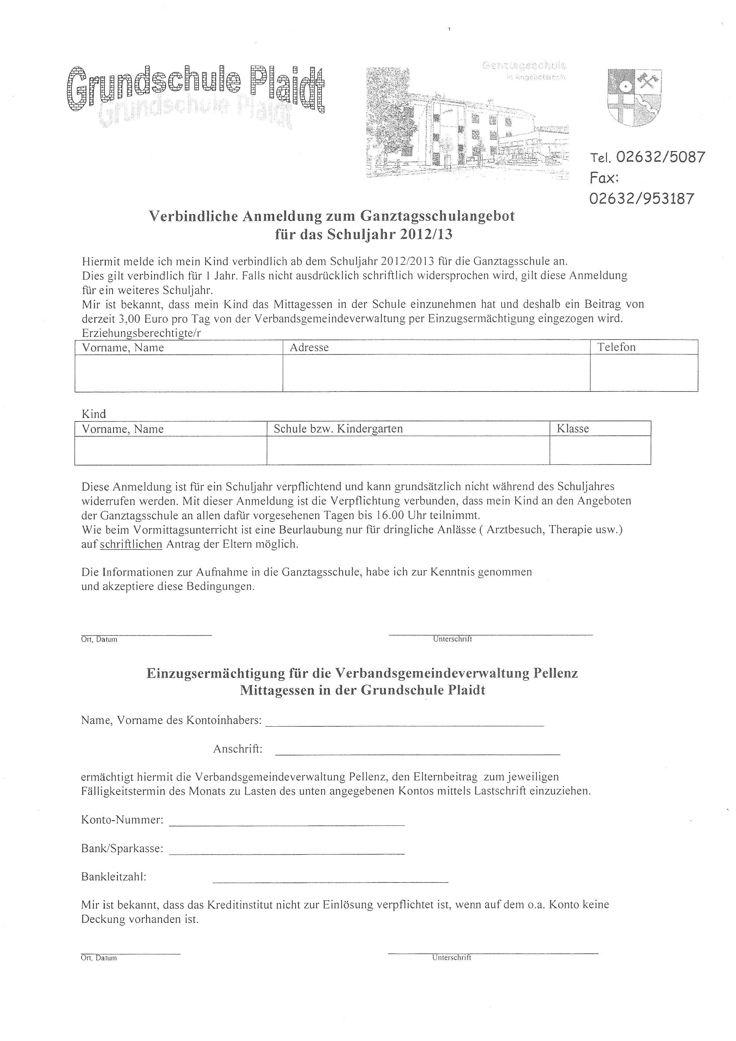 Grundschule Plaidt - Anmeldung