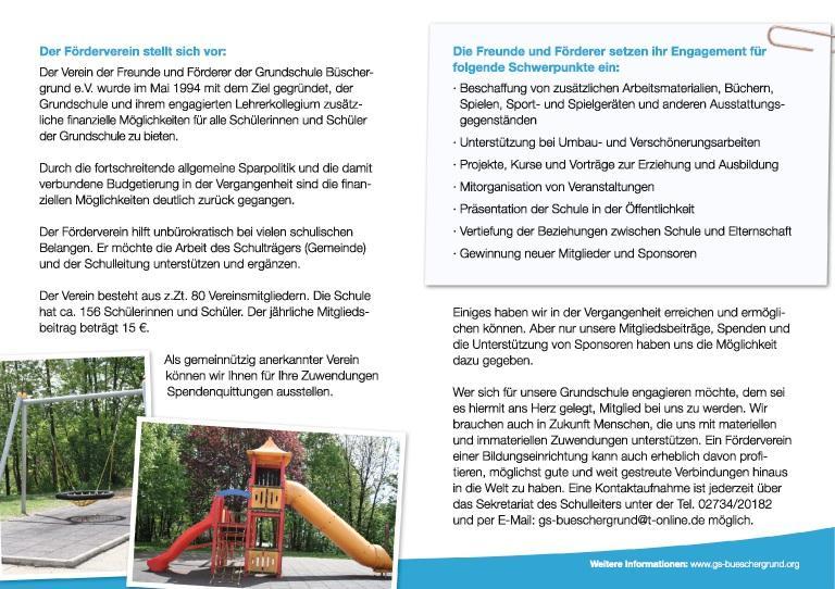 Grundschule Büschergrund - Anmeldeformular