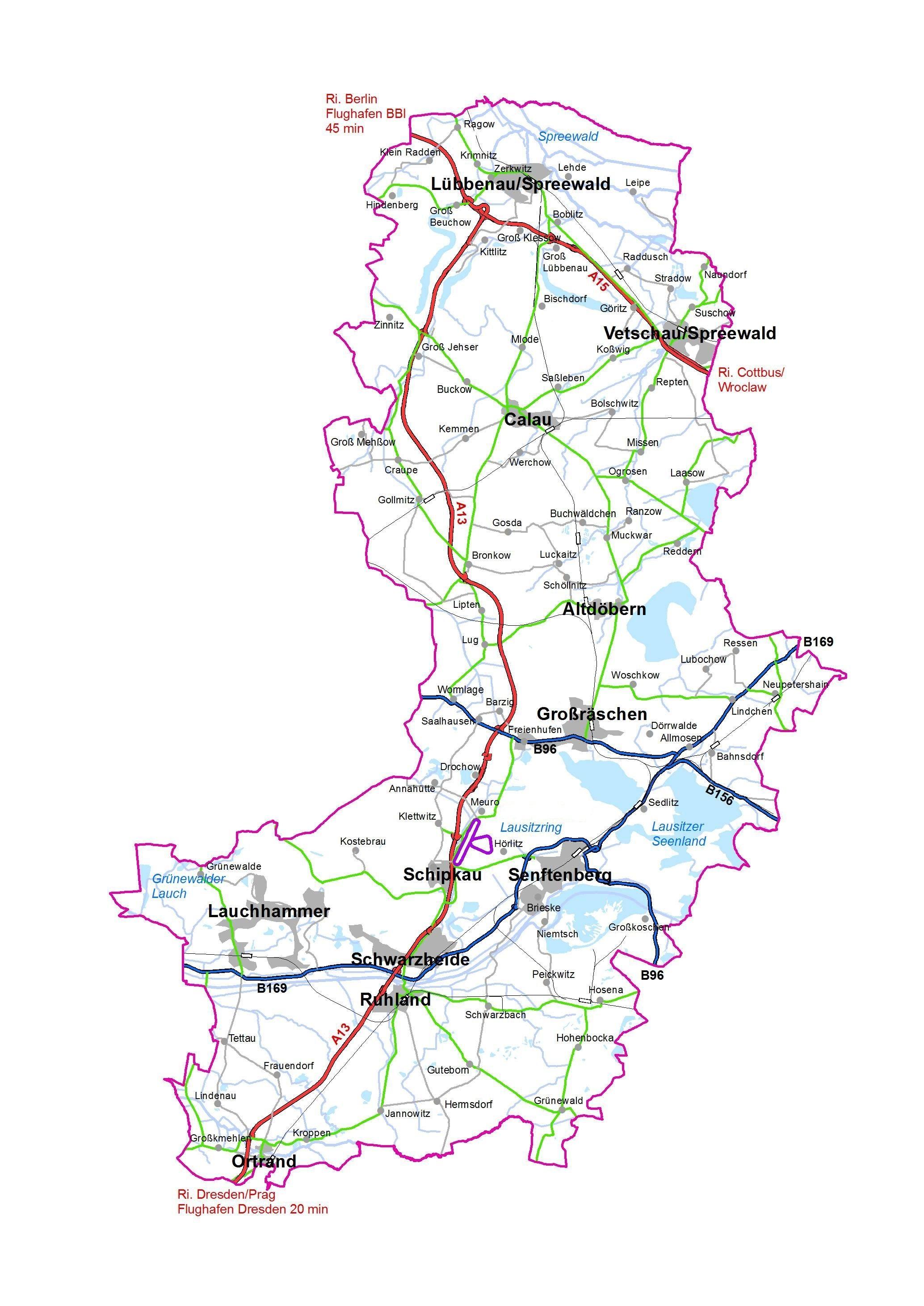 Lausitz Karte.Landkreis Oberspreewald Lausitz Karte