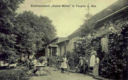 """""""Seebad Kleine Mühle"""", Postkarte um 1913"""