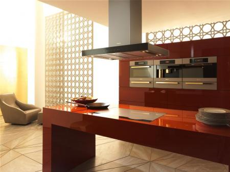 """Geräte-Ensemble der Designwelt """"Fire"""" von Miele: Kompakt-Backofen mit Mikrowelle, Kaffeevollautomat und Dampfgarer (v. l.) sind hier jeweils mit einem Speisenwärmer kombiniert. Die Dunstabzugshaube und das flächenbündig integrierte Kochfeld im Vordergrund unterstreichen den wertigen Gesamteindruck."""