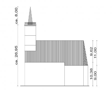 Kirchengebäude mit Maßangaben