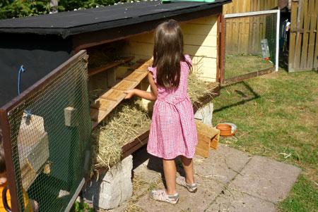 Mädchen macht Stall sauber