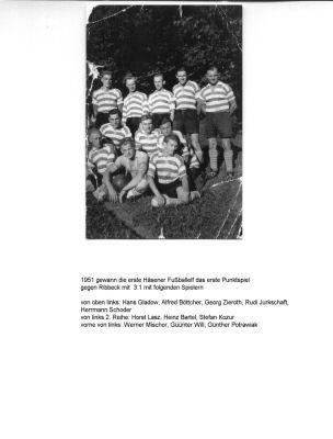 Traktor Häsen Mannschaft 1951 erstes Punktspiel gegen Ribbeck 3 : 1 gewonnen