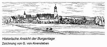 Historische Ansicht der Burganlage