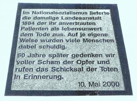 Euthanasie-Denkmal in der Klinik, Foto 2000