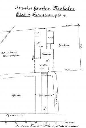 Zeichnung zum Krankenhausbau Februar 1887