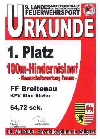 LM 2009 Urkunde Mannschaftswertung 100m Einzel