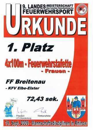 LM 2009 Urkunde 4x100 Feuerwehrstaffette