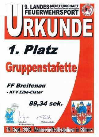 LM 2009 Urkunde Gruppenstafette