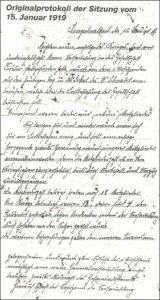 Sitzungsprotokoll von 1919