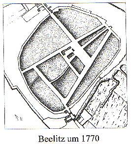 Beelitz Straßenplan um 1770