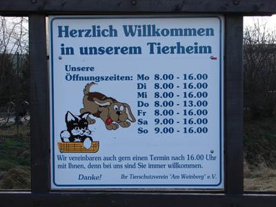 Tierheim Öffnungszeiten