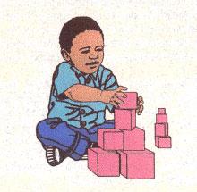 Zeichnung: Spielendes Kind mit Klötzen