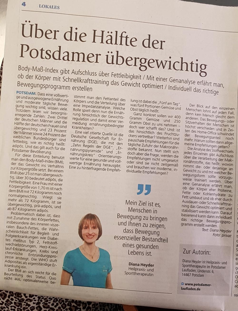Wochenspiegel Diana Heyder