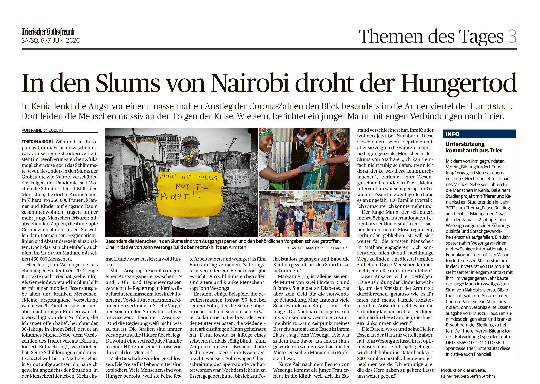 In den Slums von Nairobi droht der Hungertod