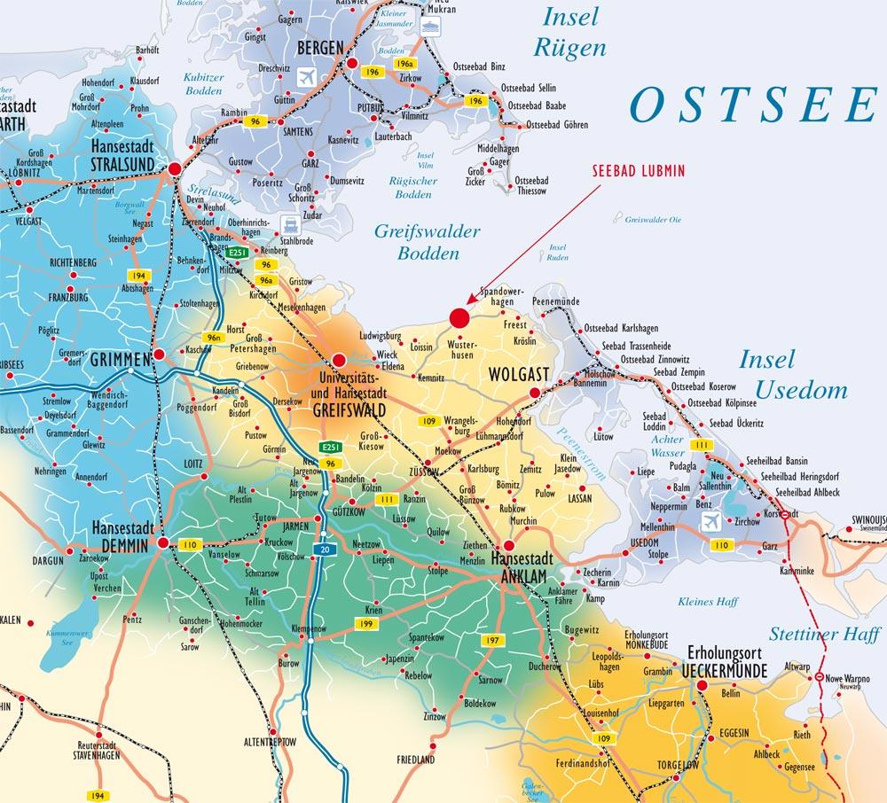 ostseeinseln karte Gemeinde Lubmin Kurverwaltung im Amt Lubmin   Anfahrt/Lage