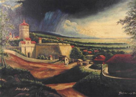 Gemäldefoto der ursprünglichen Wasserburg, auf deren Grundmauern das Schloss erbaut wurde