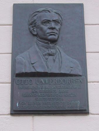 Gedenktafel am Geburtshaus von Otto Unverdorben