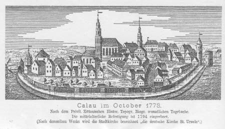 Kupferstich Calau im Oktober 1778